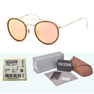 Wholesale Highest Quality Round Style Sunglasses for Men women Alloy frame Mirrored glass lens double Bridge Retro Eyewear with box and cases