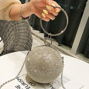 Wholesale Diamond Ball bag Metal Ring Tote bag Summer New Quality Women s Designer Handbag Chain Shoulder Messenger Bolsos Mujer