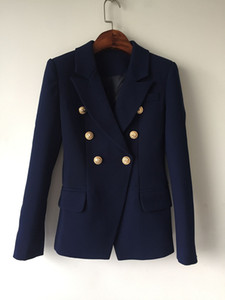 High Quality Designer Fashion Blazer Jacket Women Gold Buttons Double Breasted Navy Blue Slim Blazers Outerwear Women Suits Coat Clothes D7
