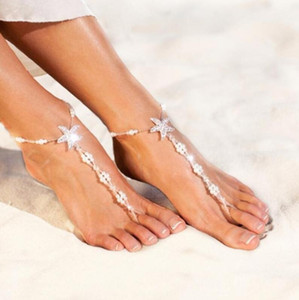 Wholesale Sexy Ladies Starfish Anklet Girls Boho Pearl Foot Jewelry Anklet Beaded Chain Barefoot Sandals Bridal Wedding Jewelry