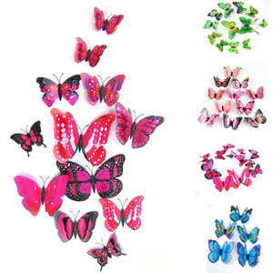Wholesale 12x D Butterfly Wall Sticker Fridge Magnet Room Wall papers Decorations Fashion Decor Decal Applique High Quality Wall Stickers