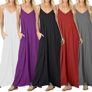 Summer Sleeveless Fashion Sexy Casual Stretch Dresses 2019 Women Evening Party Beach Solid Maxi Dress Female Vestidos Apparel