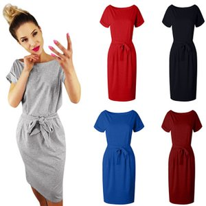 Wholesale Women Summer Dress Casual Pocket Bow Belt Knee length Part Dresses Solid color elegant dress female