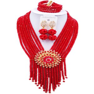 Wholesale On Sale Opaque Red Crystal Africa Style Women Beads Necklace Engagement Jewelry Sets C SK