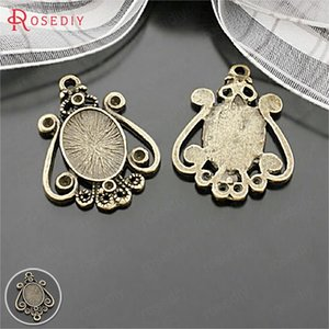Wholesale 20PCS inside x10MM Antique Bronze Zinc Alloy Oval Base Trays Bezels Cabochon Beads Settings Cameo Settings Pendants Findings