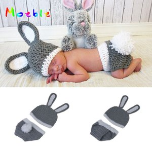 Wholesale 2019 New Rabbit Newborn BABY Photography Props Easter Rabbit Infant Baby Photo Prop Crochet Photography Props