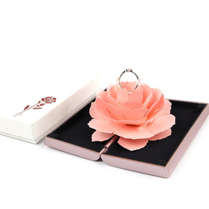 Custom LOGO New Arrivals 4 Color Rotary Rose Ring Box Top Grade Creative Wedding Ring Box Jewelry Display Boxes