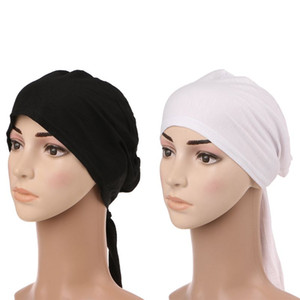 Wholesale Muslim Hijab Bonnet Cap Headband Soft Cotton Stretchy Anti Slip Classic Style Solid Black White color