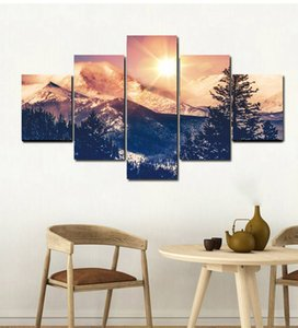Wholesale golden canvas art set for sale - Group buy 5pcs set Unframed Golden Mountain Snow and Sun Print On Canvas Wall Art Picture For Home and Living Room Decor