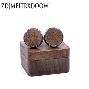 Wholesale New Design Wood Cufflinks Wedding Groom Anchor Cufflink Shirt Cufflinks For Mens Casual Cuff Link Fashion Wood Gift box