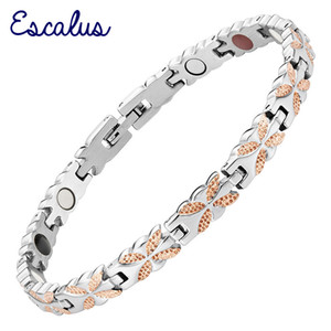 Wholesale Escalus Germanium Stainless Women Office Magnets Bracelet Negative Ions Far Infra Red Gold Color Fashion Bangle Wristband Charm
