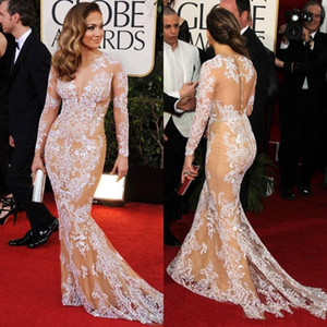 Wholesale Elegant Oscar Sexy Evening Dresses Jennifer Lopez in Zuhair Murad Lace Bateau Sheer Mermaid celebrity Prom Dresses with Long Sleeve