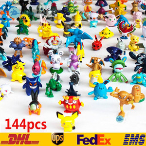 Wholesale 144 Monster Pikachu Toys PVC Cartoon Cosplay Movies Action Figure Decoration Doll Toys Children Kids Gifts CM SZ T02