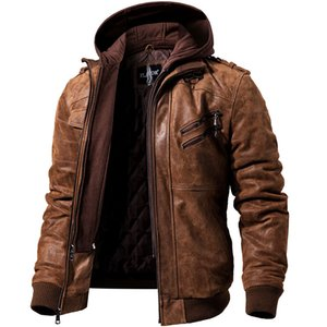 Men's Real Leather Jacket Men Motorcycle Removable Hood winter coat Men Warm Genuine Leather Jackets on Sale