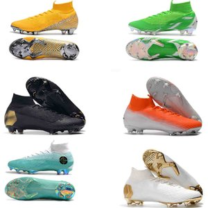 Wholesale High original Soccer Cleats Socks ACC Mercurial Superfly VI Elite FG Football Boots CR7 Cristiano Ronaldo Neymar JR Soccer Shoes