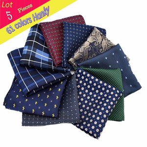 Wholesale Men Luxury Polyester Silk Handkerchief Flower Dots Stripe Pocket Square Wedding Hanky Party Christmas Chest Towel