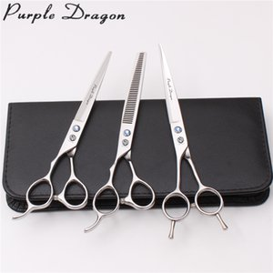 Wholesale Left Hand quot Stainless Z3006 Purple Dragon Dogs Cats Hair Grooming Scissors Cutting Scissors Thinning Shears Pets Suit