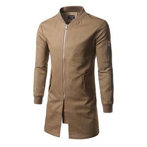Windbreaker Men's Slim Mid-length Solid Color Stand Collar Windbreaker Personality Youth coat Sleeve Zipper Decorative Coat