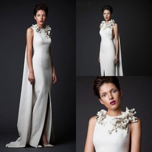 krikor jabotian Mermaid Evening Dresses With Wraps Ivory Jewel Neck Hand Make Flower Designer Prom Dresses Imitation Designer Dubai Party on Sale