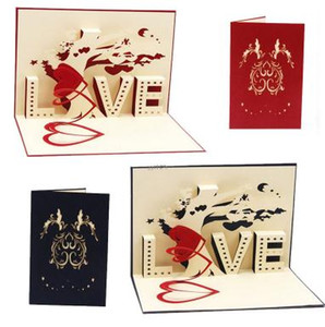 Wholesale Happy Birthday Greeting Card D Pop Up Cards Love Tree Heart Valentine s Day Wedding Lover Gift