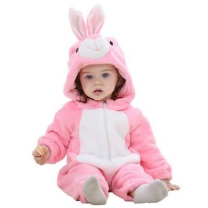 Wholesale Infant Romper Boys Girls Jumpsuit New Born Bebe Clothing Hooded Toddler Clothes Cute Rabbit Rompers Baby Costumes Q190520