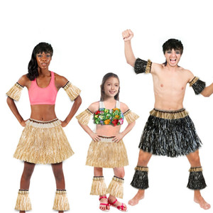 Bardian Hawaiian Grass Skirts Kits Elastic Arm Covers Foot Sleeves Strae Skirt Fit Party Decor Festival Costume 5pcs 15cke1