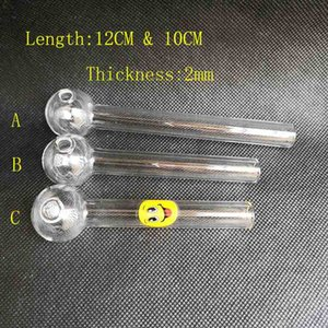 12cm 10cm clear Pyrex oil burner 2mm thick glass tube 25mm OD Ball With Smile for water Smoking Glass pipe bongs oil rig Hookah Bubbler Tool