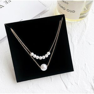 Wholesale Simple Double Imitation Pearls Clavicle Chain Neck Collar Necklace Choker Women Jewelry Gift