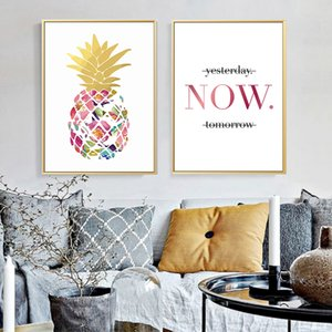 Wholesale Modern Yellow Gold Pineapple Today Quotes Canvas Paintings Wall Art Nordic Posters Pictures For Office Living Room Home Decor