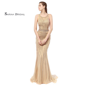 Wholesale 2019 Gold Series Mermads Beads Prom Dresses Jewel Tulle Zipper Back Sleeveless Formal Evening Gown LX353