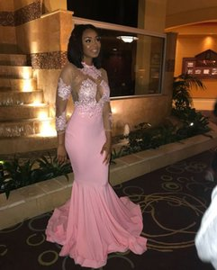 Modest Long Sleeve Prom Dresses Jewel Neck See Through Beading Sexy Mermaid Pink Prom Gowns African Elegant Evening Dress on Sale