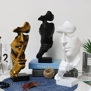 Wholesale Creative and Abstract Men Figure Statues Sculptures Keep Silence Figurine The Thinker Statue and Sculpture for Home Living Room Table Deco