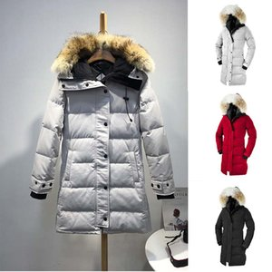 Wholesale High Quality Wolf Hair Winter Down Jacket Women Goose Hooded Long Coats Cotton Padded Warm Thicken Designer Jacket Winter Coat Women Outwear