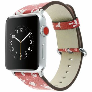 Wholesale Christmas for Apple Smart Watch Leather Strap mm mm Wrist Watchband Cute print fashion Soft Watch Band Strap Buckle Accessories