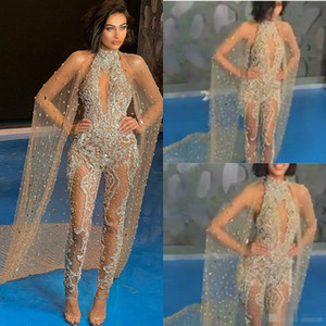 Wholesale Luxury Beaded Crystal Prom Jumpsuits with Wrap Sequins High Neck Illusion Sexy Evening Gowns 2019 Women Trouser Suits Formal Dress