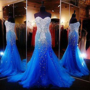 2019 New Luxury Ocean Blue Strapless Beaded Mermaid Long Prom Dresses Tulle Crystals Sweep Formal Party Evening Dresses