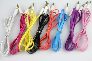 Wholesale 200pcs mm Colorful Flat Noodle Aux Audio Auxiliary Cable Jack Male to Male Plug Stereo Cord Wire for Iphone plus Mobile Phone Speaker
