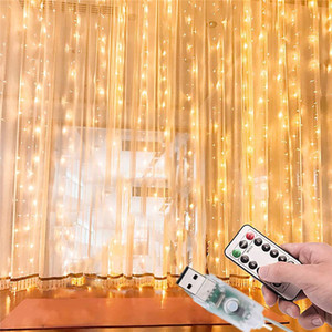 Wholesale curtain walling for sale - Group buy Window Curtain Lights LED USB Powered Fairy String Lights with Remote Waterproof Settings Twinkle Lights for Wall Decorations