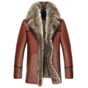 Genuine Leather Jacket Winter Jacket Men Natural Wool Fur Liner Sheepskin Coat for Men Raccoon Fur Collar Warm Jackets 4xl Y1715