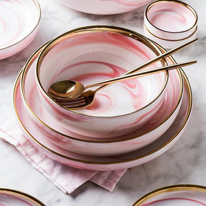 Wholesale pink kitchen tools resale online - Pink Marble Ceramic Dinner Dish Plate Rice Salad Noodles Bowl Soup Plates Porcelain Dinnerware Sets Tableware Kitchen Cook Tool T200430