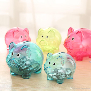 Wholesale T2018 new arrival Plastic Transparent Money Saving Box Case Coins Kawaii Cartoon Pig Shaped Piggy Bank Cash Coin Money Box Child
