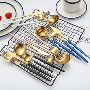 Wholesale 12pcs set KuBac Hommi Gold Cutlery Set Black Dinnerware Forks Knives Scoops Stainless Steel Silverware Set Drop Shipping sets C18112701