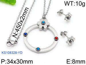 Hot Women stainless natural blue red turquoise beads round circle flower charms Mujer pendientes oso earring and necklace jewelry set bears