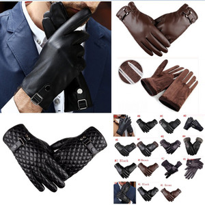 Mens Driving Gloves Winter PU Leather Touchscreen Warm Soft Thick Fleece Lining Windproof Water-resistant Biking Outdoor Gloves 15styles