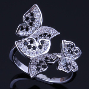 Wholesale Graceful Butterfly Black Cubic Zirconia White CZ Sterling Silver Ring For Women V0488