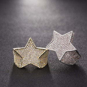 Wholesale Men Star Ring K Copper Charm Gold Silver Color Full Zircon Fashion Hip Hop Rock Jewelry