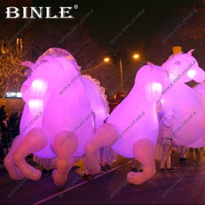 Wholesale Fashionable stage performance fun white giant inflatable horse costume with led animal mascot costume for adults