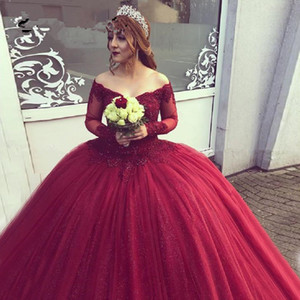 Wholesale Burgundy Muslim Evening Dresses Ball Gown Off Shoulder Tulle Appliques Lace Islamic Dubai Saudi Arabic Long Prom Evening Gown