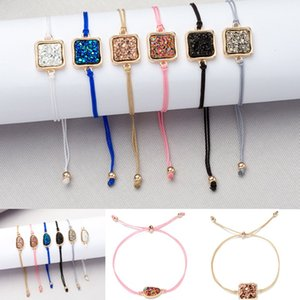 Wholesale Handmade Crystal Quartz Druzy Bracelet Square Shape Colorful Natural Stone Rope Bracelets Bangles for Women Summer Beach Jewelry