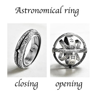 Wholesale Silver Astronomical Sphere Ball mood Ring For women Creative Complex Rotating Cosmic letter Finger ring men fashion jewelry gifts